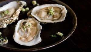 wasabi mignonette oysters