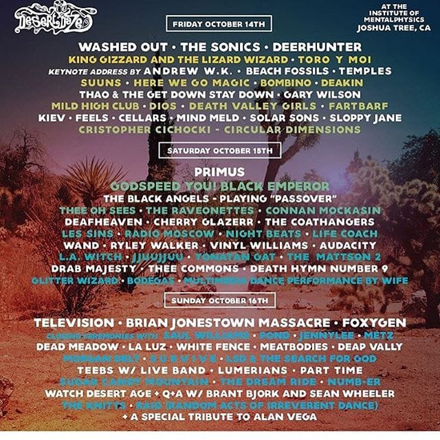 Lineup for Desert Daze! Death Valley Girls play on Friday. Image courtesy of their instagram @desertdaze_official.