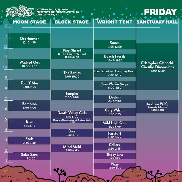 Friday's set times for Desert Daze, image courtesy of their facebook page.