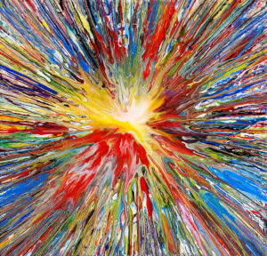 a spin painting with many colors exploding outwards from the center